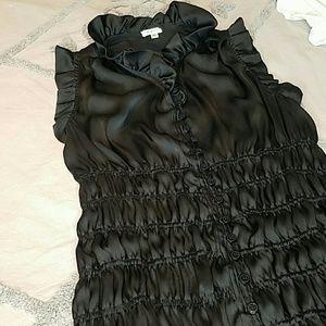 Agora Tops - Agora Ruched Ruffled Sleeveless  Blouse Size S